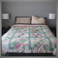 Antique 1920s 1930s Depression Era Chevron Bed Quilt Bedspread Cover