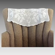 Vintage 1920s Creamy White Filet Crochet Lace Antimacassar Chair Cover Head Protector