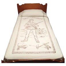 Vintage 1950s Davy Crockett Frontiersman Twin Bedspread Cover Summer Weight