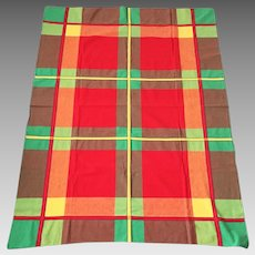 Vintage 1950s Woven Cotton Plaid Tablecloth Picnic Linen Red Green Yellow