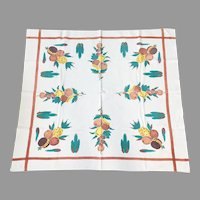 Vintage 1940s Handpainted Muslin Card Table Tablecloth