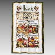 Vintage 1960s Harrods Knightsbridge Food Halls Irish Linen Dish Hand Towel Ulster