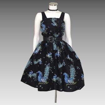 Vintage 1950s 1960s Novelty Print Fabric Yardage Blue Floral Peacocks on Rich Black