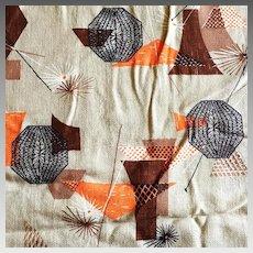 Vintage 1950s Novelty Print Bark Cloth Fabric Yard Goods Brown Orange Gray Black