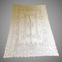 Vintage Creamy White Quaker Lace Cloth Rectangular Special Occasion Holiday Reception Tablecloth
