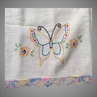 Vintage Dresser Runner with Rainbow Pastel Embroidered Butterflies