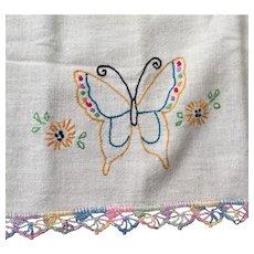 Vintage Dresser Runner with Rainbow Pastel Embroidered Butterflies