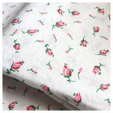 Vintage Red and Pink Rosebud Print on White Cotton Fabric Yard Goods Yardage