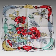 Vintage 1940s Handkerchief Hanky with Flowers and Butterfly Print