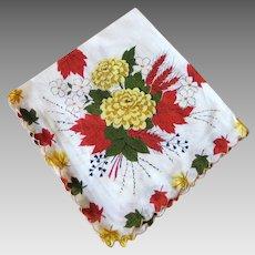 Vintage 1960s Golden Wheat Autumn Mums Brick Red Orange Flowers Leaves Handkerchief Hanky