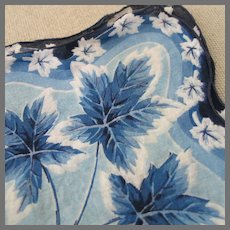 Vintage 1960s Blue Maple Leaves Novelty Print Hanky  Handkerchief with Scalloped Hem