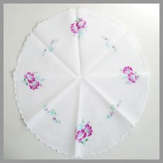 Vintage 1950s Round White Handkerchief with Purple Flowers