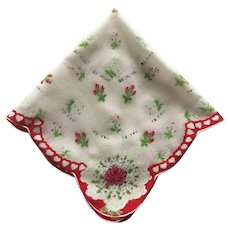 1950s Vintage Red and White Valentine's Day Hanky Handkerchief