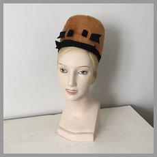 Vintage 1960s Betmar High Rise Mod Pillbox Toque Hat Harvest Gold Black