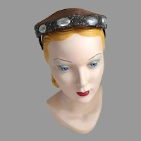 Vintage 1960s Shiny Dark Brown Faux Fur Pillbox Prong Hat with Beaded Edge