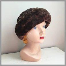 Vintage 1960s Cozy Faux Fur Dark Brown Black Leopard Print Winter Hat