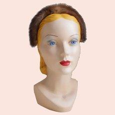 Vintage 1960s Light Brown Fur Headband Hat by Saks Fifth Avenue S