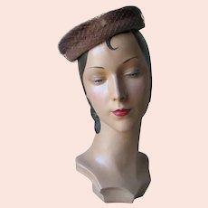 Vintage 1960s Light Brown Velvet Halo Hat with Mink Trim Veil and Bows NOS