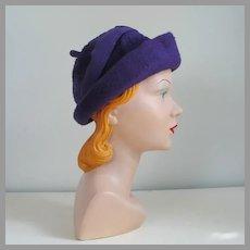 Vintage 1960s Duchess of Italy Soft Plush Purple Rolled Brim Hat with Felt Trim