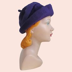 Vintage 1960s Duchess of Italy Soft Plush Purple Rolled Brim Hat with Felt Trim