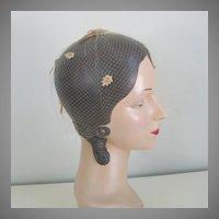 Vintage 1960s Tan Velveteen Leaves Autumn Whimsy Veil Hat Fascinator