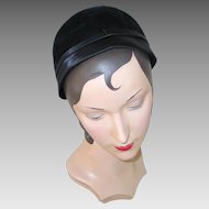 Vintage 1930s Black Gage Close Hat with Satin Edging