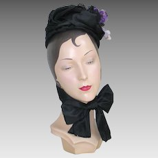 Authentic Late 1800s Victorian Bonnet with Purple Floral Nosegay and Long Ribbons