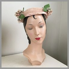 Vintage 1940s Peachy-Pink Hat Band with Posies, Netting & Rhinestones