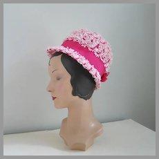 Vintage 1960s Pink Novelty Weave Summer Straw Bubble Hat
