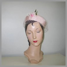 Vintage 1960s Pastel Pink Ring Halo Hat with Veil and Flower