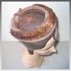 Vintage 1960s Light Brown Velvet Ring Hat with Mink Trim Veil and Bows NOS