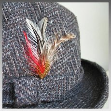 Vintage 1970s Men's Dark Gray and Brown Chevron Tweed Fedora Hat