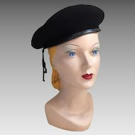 Vintage Black Wool Beret Normandy Ultrabasque made in Czechoslavackia
