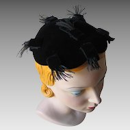 Vintage 1950s Black Velvet Beatrice Martin Tiny Cocktail Hat Wispy Feathers