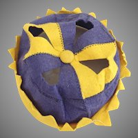 Authentic Vintage 1920s Boys Beanie Hat Purple and Gold Felt Cutout Cut Out