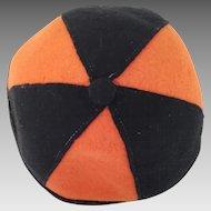 Authentic Vintage 1920s Boys Beanie Hat Orange and Black Felt Cap