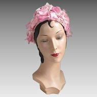 Vintage 1960s Pink Flower Covered Hat