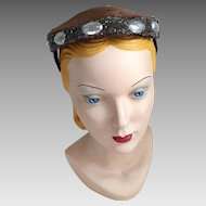 Vintage 1960s Shiny Dark Brown Faux Fur Pillbox Prong Hat with Iridescent Beaded Edge