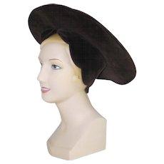 Vintage Costume Halo Hat Dark Brown Velveteen Ren Faire Halloween