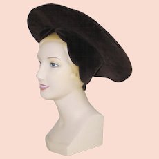 Vintage Costume Halo Hat Dark Brown Velveteen Ren Faire Halloween