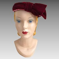 Vintage 1960s Dark Red Wine Velvet Pillbox Hat with Schiaparelli Pink Trim