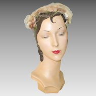 Vintage 1960s Velvet Bound Wire Cage Hat Head Band with Flowers and Veil