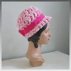 END OF SUMMER SALE: Vintage 1960s Pink Novelty Weave Summer Straw Bubble GoGo Hat