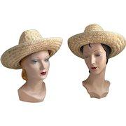Vintage 1970s Summer Straw Ranch Farm Westernwear Cowboy Cowgirl Hat