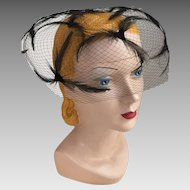 Vintage 1960s Bubble Bouffant Black Feather Net Veil Hat Whimsy