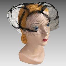 Vintage 1960s Bubble Bouffant Black Feather Net Veil Hat Whimsy