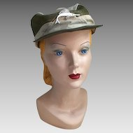 Vintage Sportsman Outdoorsman Fisherman Mesh Hat with Plastic Novelty Fish on the Front