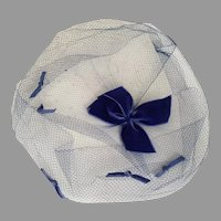 Vintage 1960s Blue Face Veil Whimsy Hat with Bow Trim