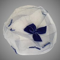 Vintage 1960s Blue Veil Whimsy Hat with Bow Trim