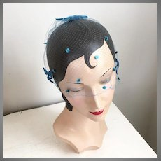 Vintage 1960s Turquoise Blue Whimsy Net Veil Hat with Bows and Tiny Dots